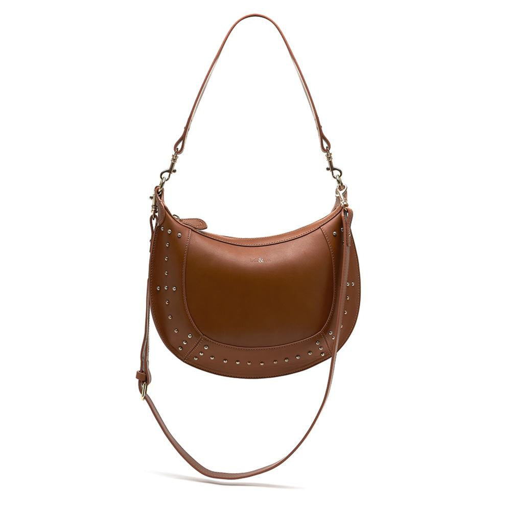 tan olished nappa leather shoulder cross body bag with stud detailing