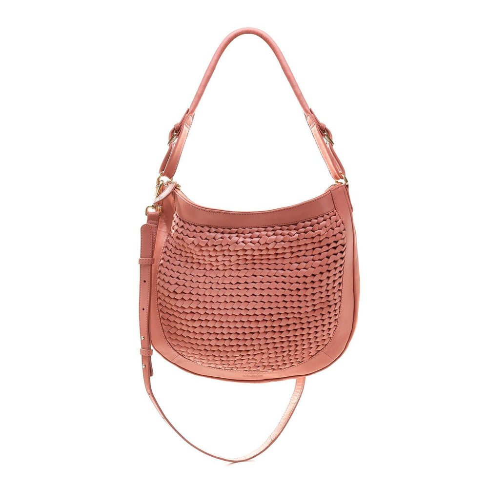 hand woven hobo crossbody bag in terracotta pink leather