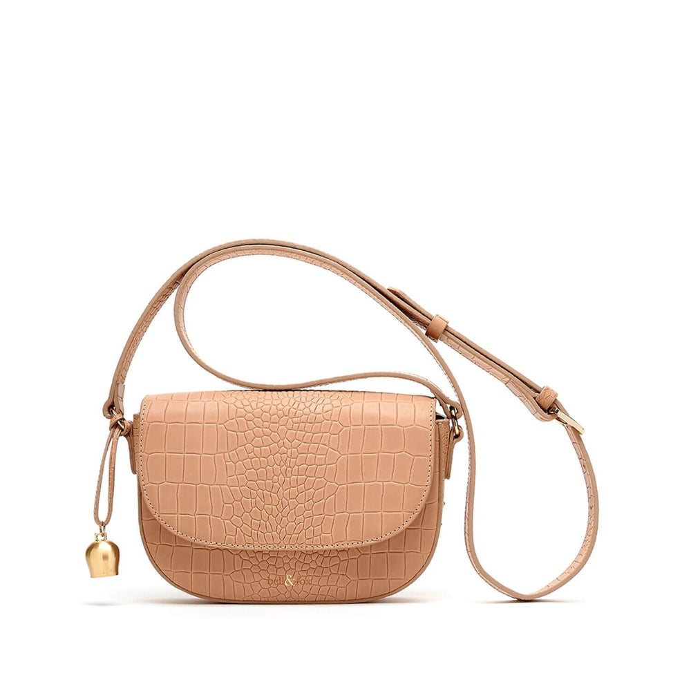 camel leather mini saddle bag