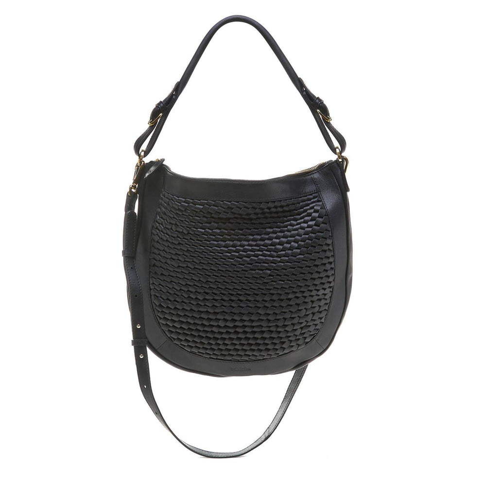 hand woven black leather hobo crossbody bag