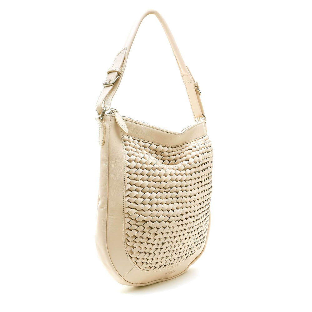 hand woven hobo crossbody bag in powder cream leather