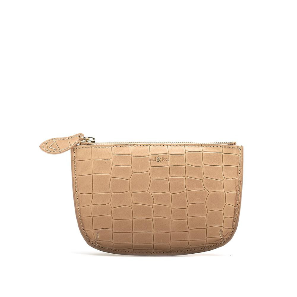 MINI POUCH purse in CAMEL CROC embossed leather