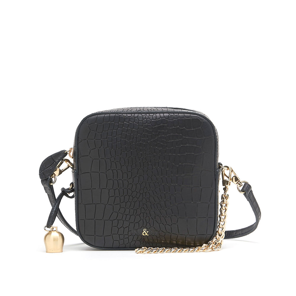 black croc leather mini cross body handbag