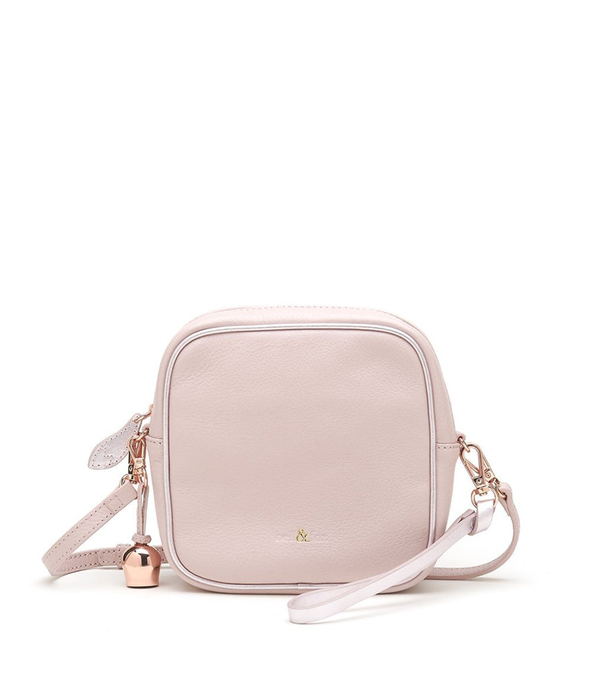 rose pink leather mini crossbody handbag