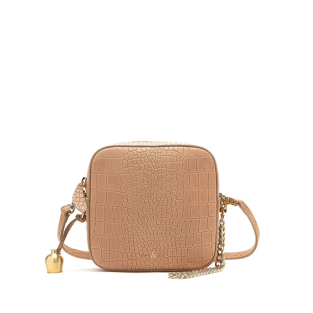 camel croc leather mini crossbody handbag
