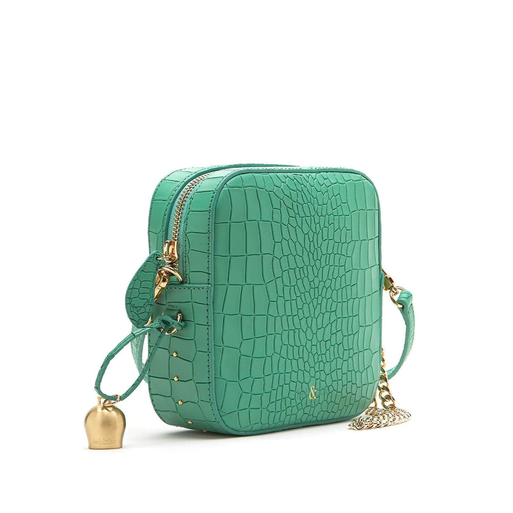 mint green croc leather mini crossbody clutch handbag