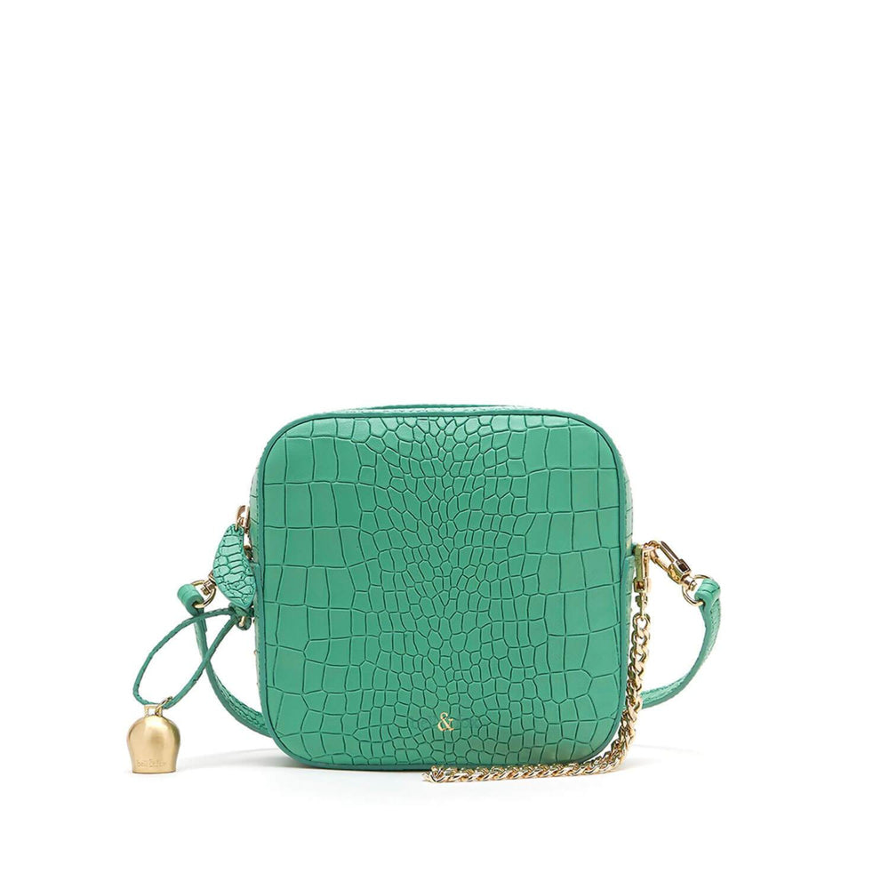 mint green croc embossed leather crossbody bag
