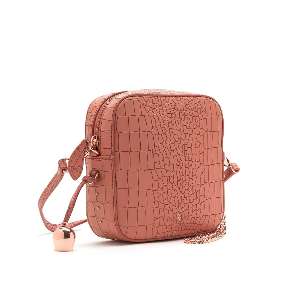 terracotta pink croc leather mini crossbody clutch handbag