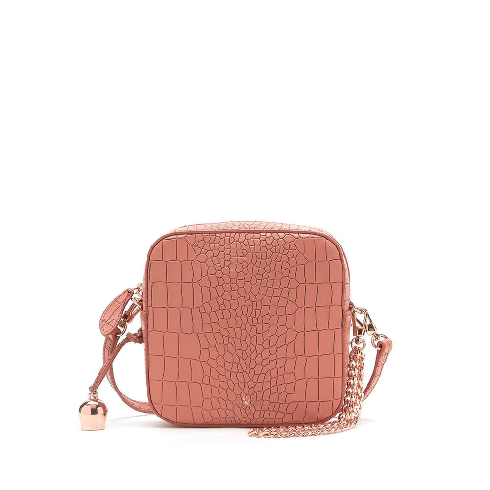 terracotta pink croc leather mini crossbody handbag