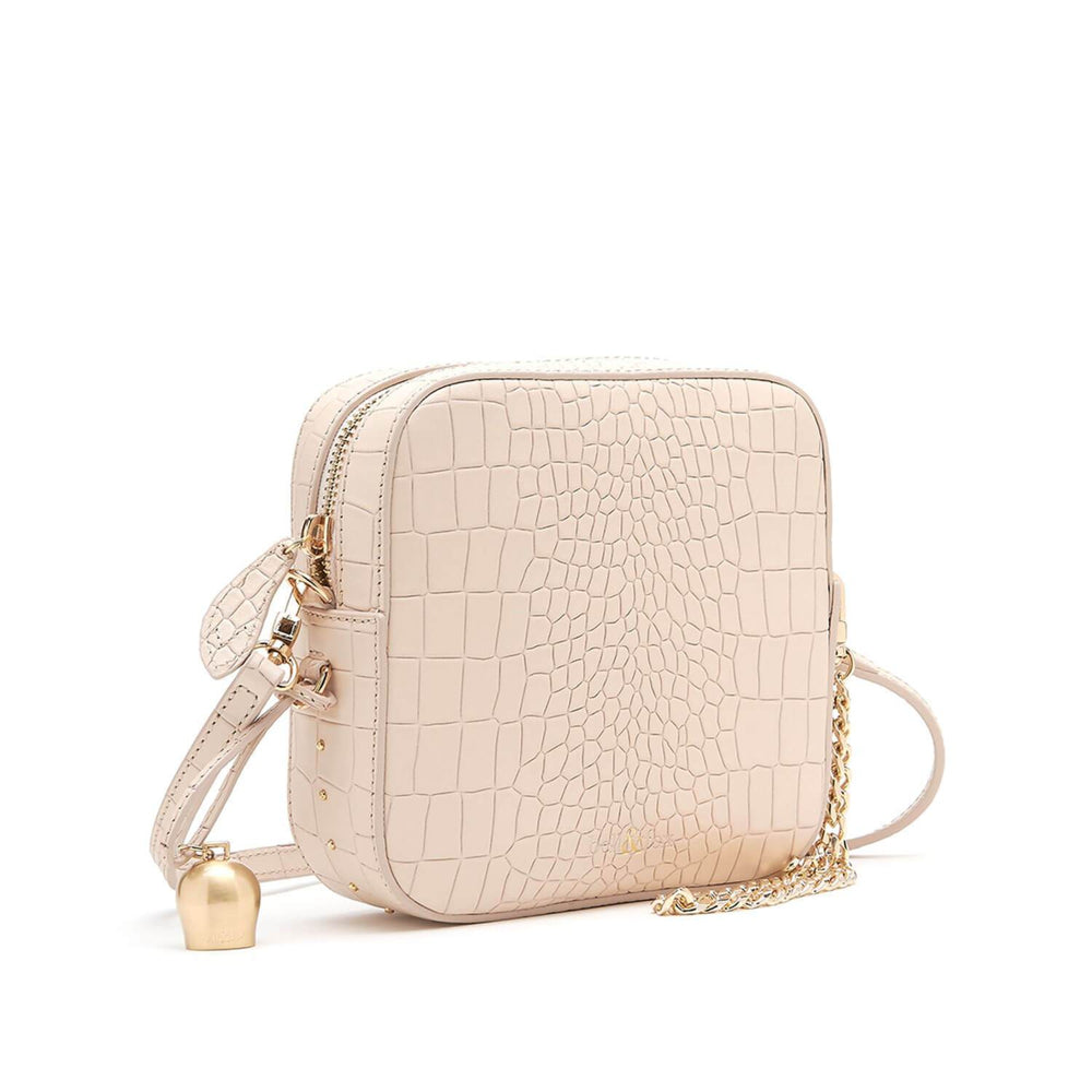 powder cream croc leather mini cross body handbag