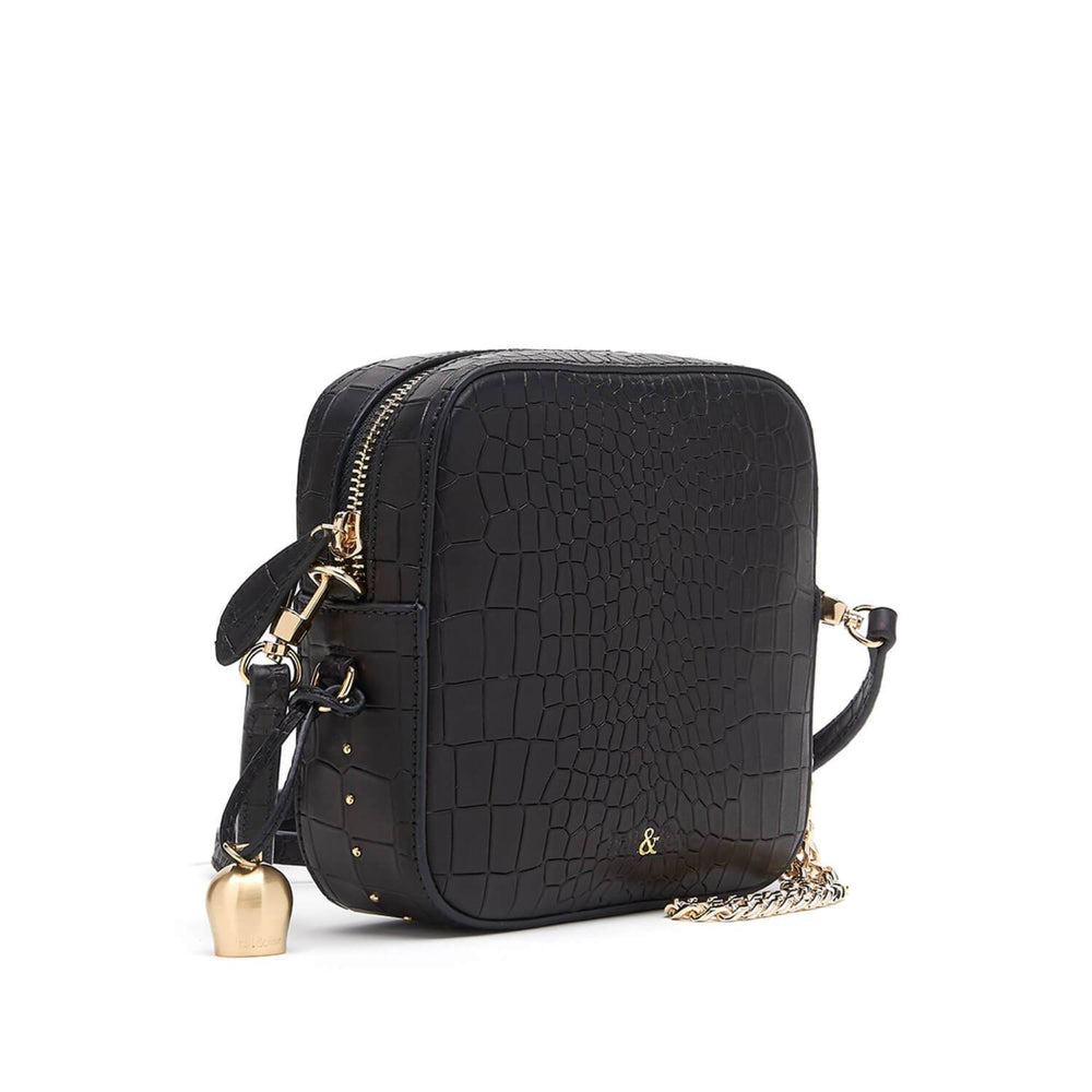 black croc leather mini crossbody handbag