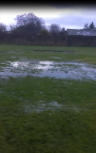 water logged pitch