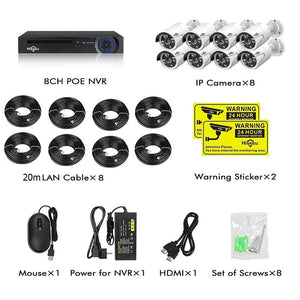 8 Channel 5MP POE Security Camera System Kit:AveretteTech Shop:United States / None / 8pcs cameras