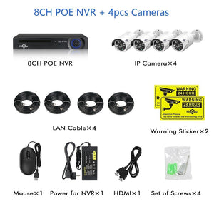 8 Channel 5MP POE Security Camera System Kit:AveretteTech Shop:United States / None / 4pcs cameras