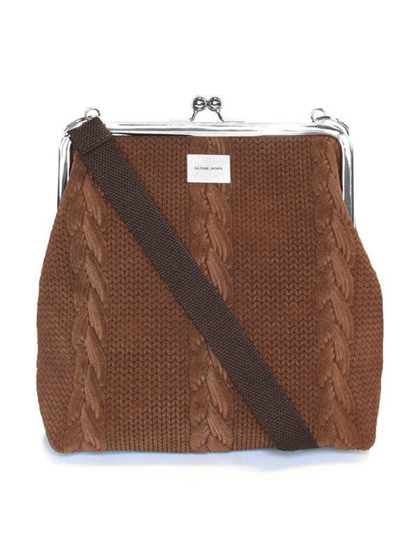 TYYNI BAG, LEATHER BROWN BRAID