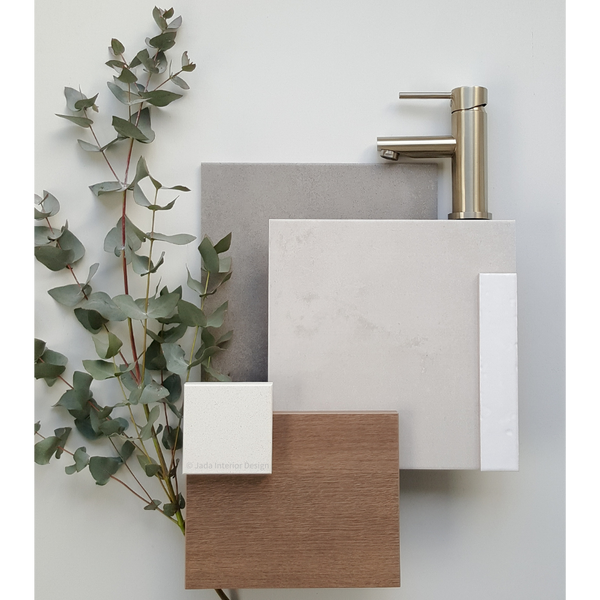 Moodboard consisting of walnut timber, white, grey tiling, branch of eucalypt and brass tapware