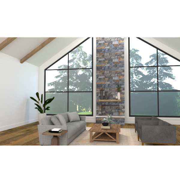 Computer render of a living room with an exposed brick/stone fireplace, raked ceiling, timber floorboards, beige rug, two grey couches facing each other with timber coffee table in between.
