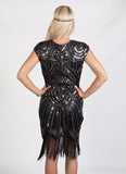 Black Beaded Flapper Dress with Silver Sequins