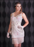 White Beaded and Sequined Flapper Dress