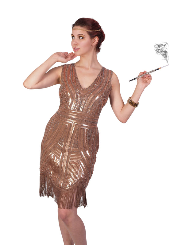 Camel Colored Sleeveless Flapper Dress with Art Deco Design