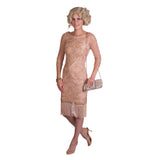 Creamy Rose Flapper Dress With Sleeves
