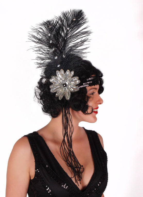 Black Sequined Flapper Headband with beads and feathers