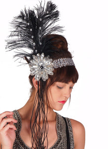 Silver Sequined Flapper Headband with Beads and Feathers