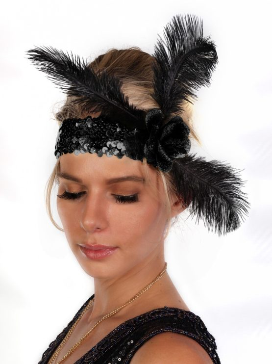 Black Sequin Flapper Headband with Rose and Feather