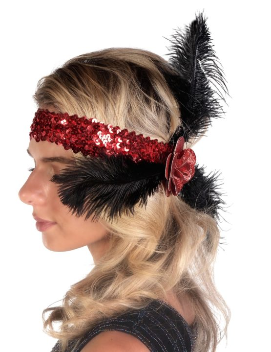 Red Sequin Flapper Headband with Rose and Feathers