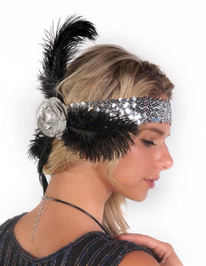 Silver Sequin Flapper Headband with Rose and Feathers