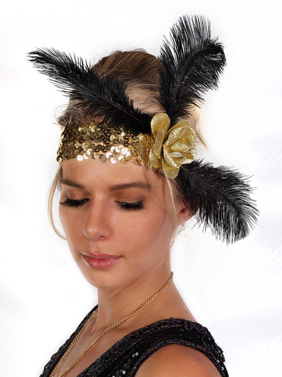 Gold Sequin Flapper Headband with Rose and Feathers