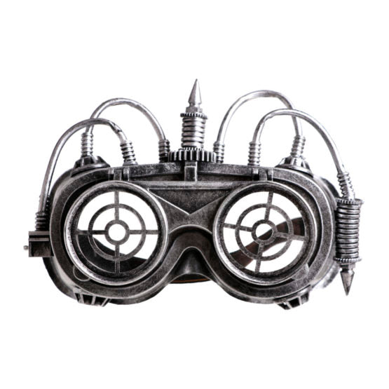 Silver Steampunk Flip Goggles With Wires