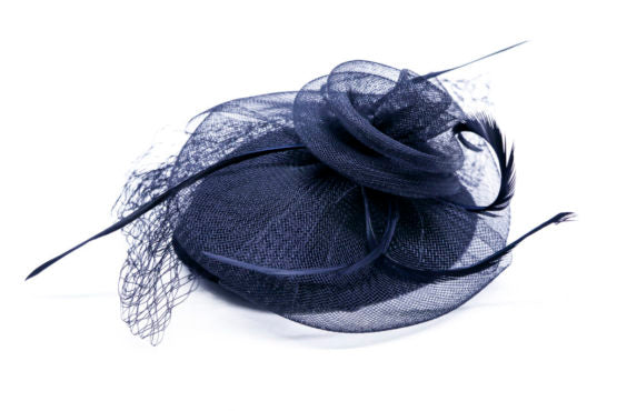 Mini Black Hat with Feathers and Mesh Veil
