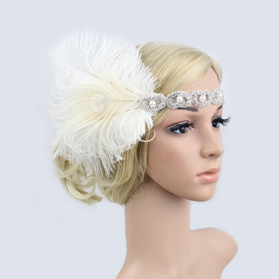 Silver Beaded Flapper Headband with White Feathers