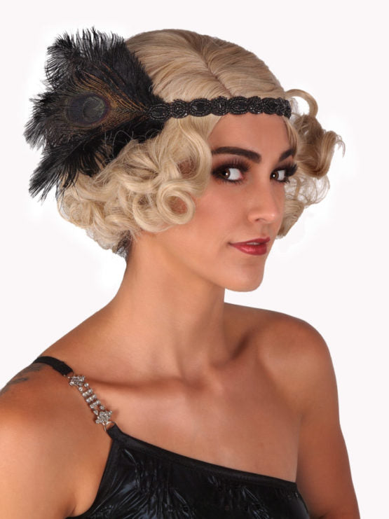 Black Beaded Flapper Headband