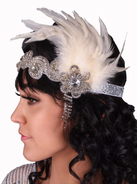 Silver Jeweled Flapped Headband