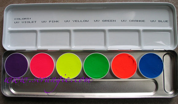 Kryolan UV Dayglow 6 Color Palette