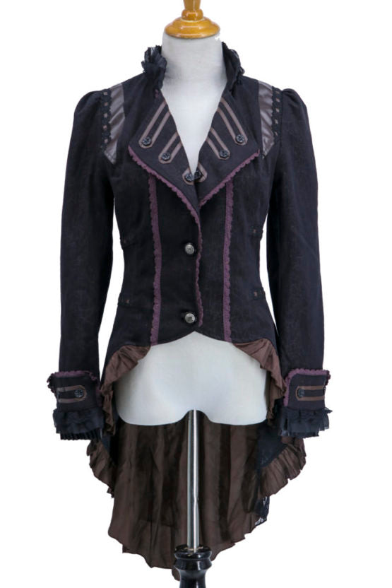Black Steampunk Ruffle Coat