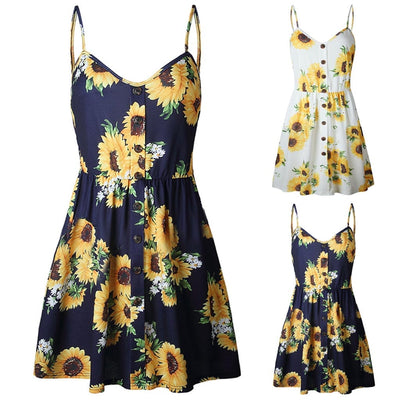 women's summer sundress Women Sexy Sling Sleeveless V Neck Sunflower Print Button Princess Dress Vestidos Charming Clothing - Only Sunflowers