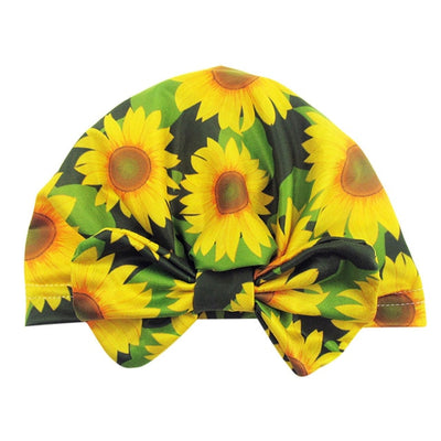 Baby Newborn Hat Children Cap Boys Girls Kids Toddler Turban Pint Dot sunflower Floral Bow Photo Props Hat Clothes modis кепка - Only Sunflowers