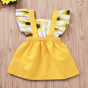 Newborn Infant Baby Girl Dress Ruffled newborn dresses for baby girls clothes Sunflower Print Princess Dress Sundress Summer - Only Sunflowers