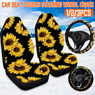 3D Sunflower Universal Car Front Seat Covers+Steering Wheel Cover Automobile Seat Protector Interior Accessories Car Styling - Only Sunflowers
