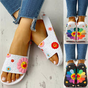 Sunflower print beach slippers Flat Flip Flops Ladies Soft Slides Shoes Female Print Floral Beach Bling Colorful Casual Sandals - Only Sunflowers