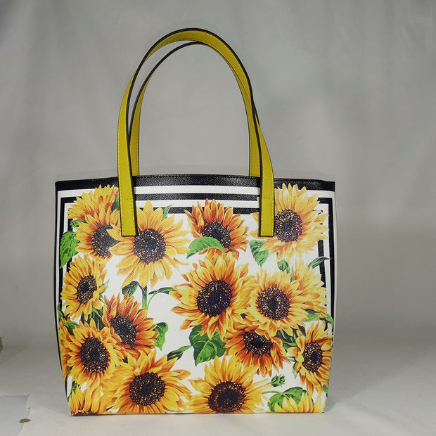 High quality women fashion 2020 fashion style shopping bag woman sicily travel bag pink shopper sun flower sunflower - Only Sunflowers
