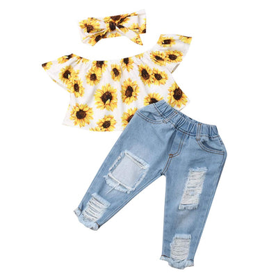 Autumn Baby Girls Clothes Sets Toddler Newborn Outfits Off Shoulder Sunflowers Tops+Denim Jeans Pants babyborn roupa infantil - Only Sunflowers