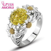 AMORUI Sunflower CZ Birthday Stone Wedding Rings for Women Jewelry Silver Color Engagement Ring Bague Femme Dropshipping Gift - Only Sunflowers