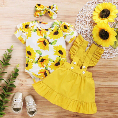 baby girl summer clothes Infant Baby Girl Ruffle Sunflower Print Romper Bodysuit+Suspender Skirts Outfits kids dresses for girls - Only Sunflowers