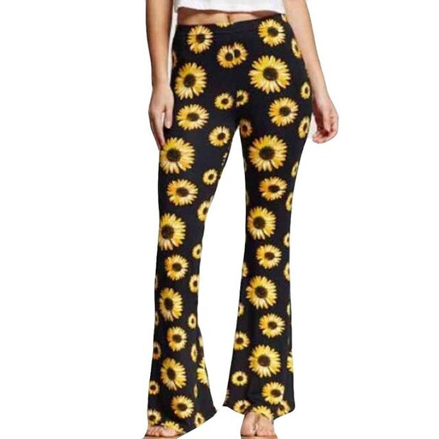 New Boho Summer Women Sunflower Print Loose Hot Pants Lady Fashion  Home Long Trousers  Fashion Women Long Pants - Only Sunflowers