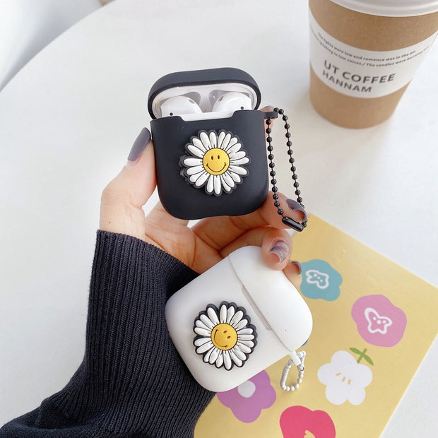 For AirPods Case Cute Cartoon Smile Daisy Sunflower DIY Earphone Case For AirPods 2 Lovely Soft Silicone Headset Protect Cover - Only Sunflowers