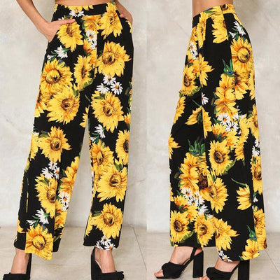 Women Sunflower Loose Hot Pants Lady Fashion Wide Leg Pants Home Long Trousers cargo pants trousers women pantalon femme - Only Sunflowers